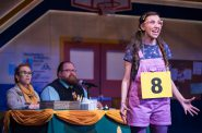 (l. to r.) Samantha Sostarich (Rona Lisa Peretti), Robby McGhee (Douglas Panch) and Amanda Rodriguez (Olive Ostrovsky) in Skylight Music Theatre's production of The 25th Annual Putnam County Spelling Bee running February 7 – February 23, 2020. Photo by Ross Zentner.