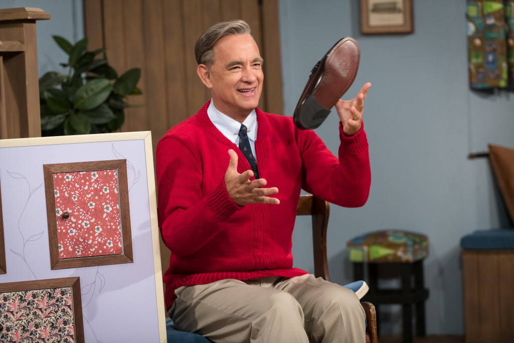 Tom Hanks stars as Mister Rogers in TriStar Pictures' A Beautiful Day in the Neighborhood. Photo by Lacey Terrell. ©2019 CTMG, Inc. All rights reserved.