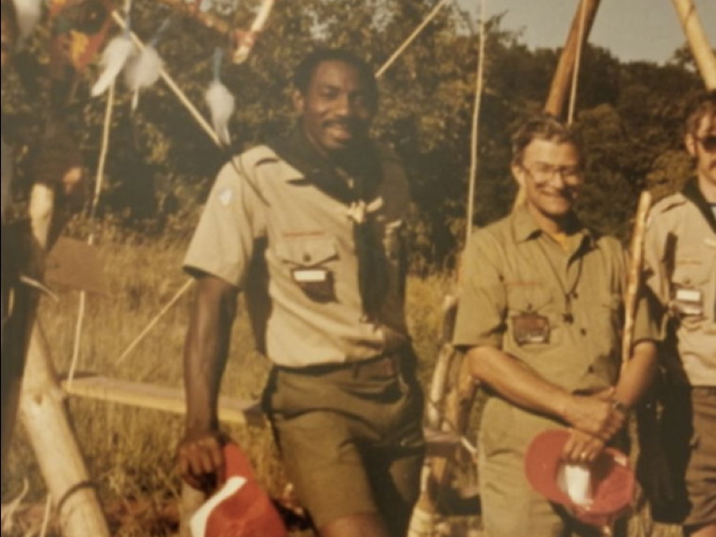 """Charles Robinson Sr. participating in Wood Badge Patrol in 1984, which included two weeks in the wilderness with few provisions. According to him, this was """"the best training I've had in life."""" Photo courtesy of Charles Robinson Sr."""