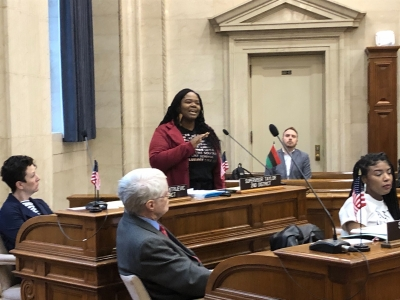"Milwaukee County Supervisor Sequanna Taylor is one of the thousands of voters flagged to be removed from Wisconsin's voter rolls. On Thursday, Feb 6. she told colleagues that hearing they didn't support voter education was a ""slap in the face."" Photo by Corrinne Hess/WPR."