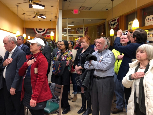 About 75 people attended the opening of the first GOP office in Milwaukee on Thursday, Feb. 6, 2020. Photo by Corrinne Hess/WPR.