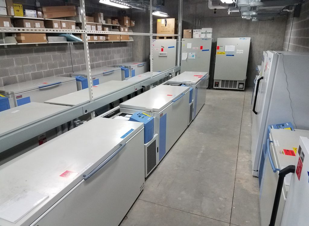 "A ""freezer farm"" in the Wisconsin State Laboratory of Hygiene — located in a locked room and accessible only to certain staff — serves as a repository for pathogens researchers might want to study. Each freezer contains thousands of specimens. Photo by Jan Klawitter/Wisconsin State Laboratory of Hygiene."
