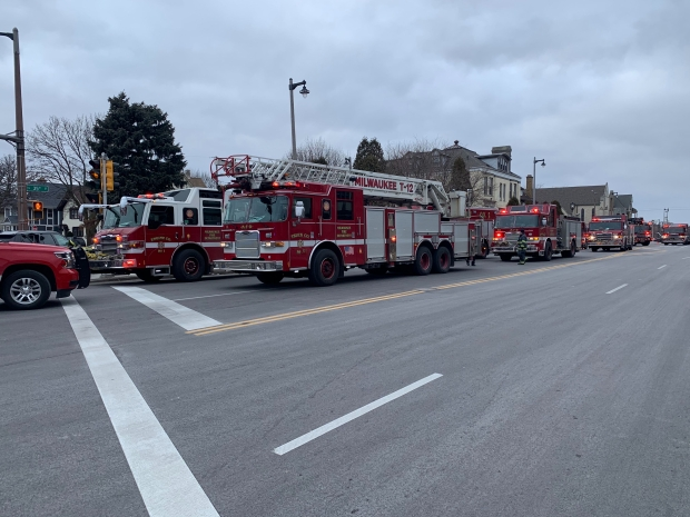 Milwaukee Fire Department trucks are parked at North 35th and West State streets after the report of an active shooter at MolsonCoors, 3939 W. Highland Blvd., Milwaukee, Wis. Photo by Alana Watson/WPR.