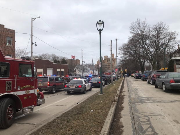First responders are staged Wednesday, Feb. 26, 2020 at North 35th and West State streets after the report of an active shooter at MolsonCoors, 3939 W. Highland Blvd., Milwaukee, Wis. Photo by Corrinne Hess/WPR.