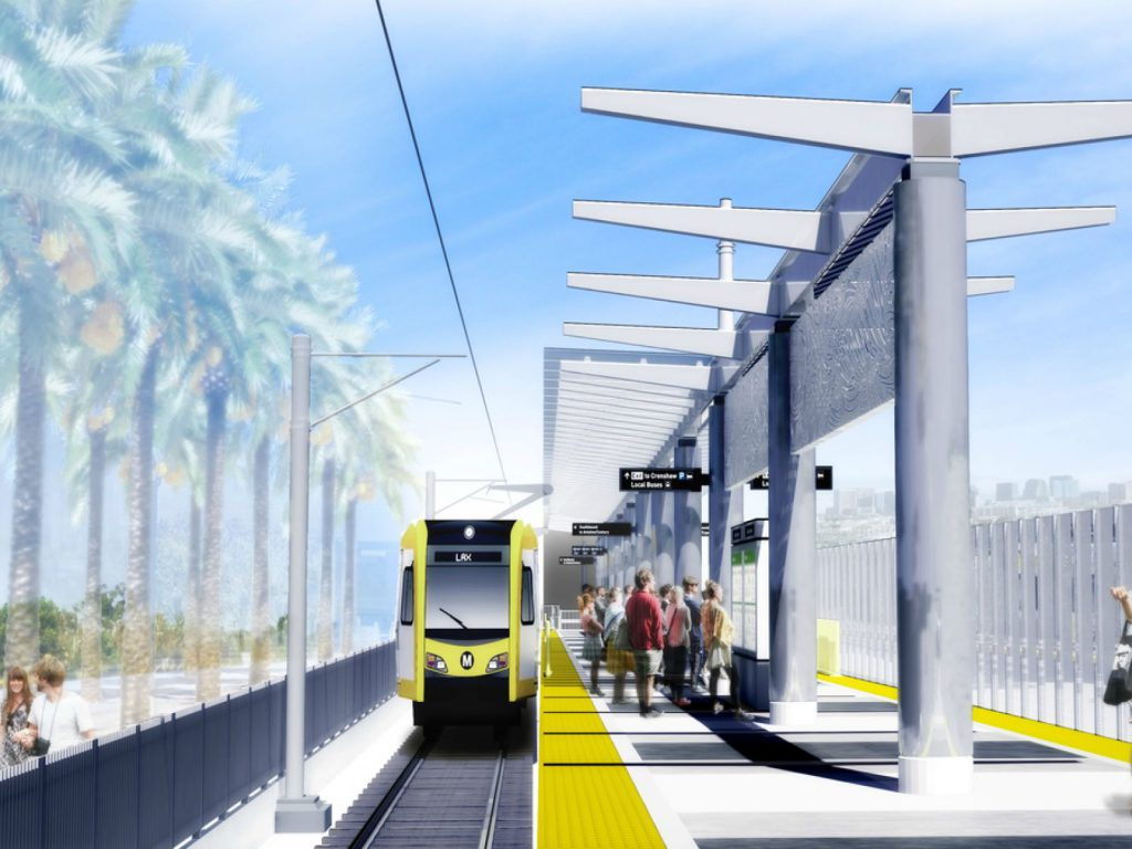 Downtown Inglewood Station on the Crenshaw/LAX Line. Rendering from of Metro.