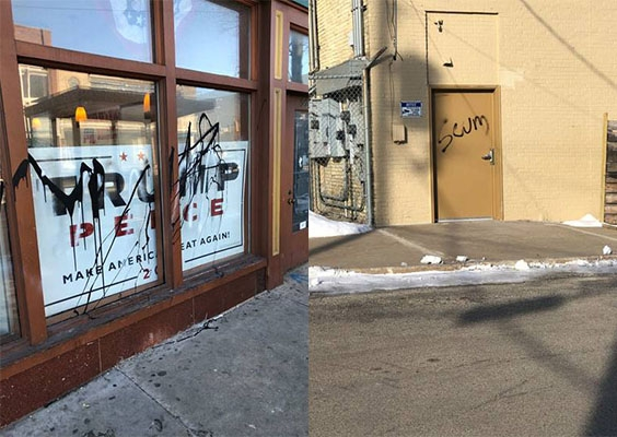 The Republican Party of Wisconsin's field office in Milwaukee's Bronzeville neighborhood was vandalized overnight, according to the Republican Party of Wisconsin. The photo taken Wednesday, Feb. 19, 2020, shows some of the spray-painted messages and shapes. Photos courtesy of the Republica Party of Wisconsin/WPR.