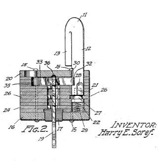 Harry E. Soref's 1921 design for his laminated padlock.