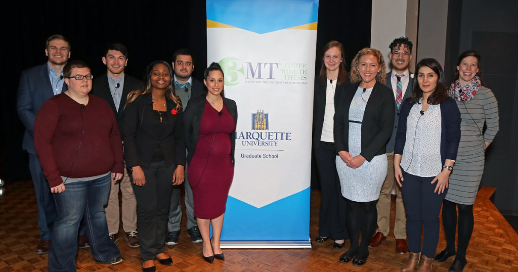 Three Minute Thesis competition. Photo courtesy of Marquette University.