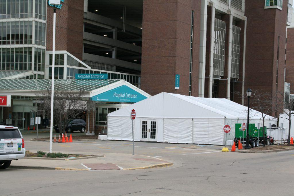 Triage tent at St. Luke's. Photo by Jeramey Jannene.