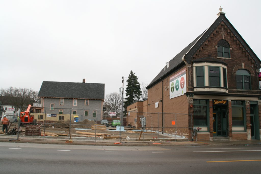 Construction of the second phase of the Innovations and Wellness Commons. Photo by Jeramey Jannene.