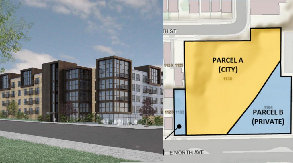 1136-1146 E. North Ave. Rendering by Valerio Dewalt Train Associates, site layout by City of Milwaukee.