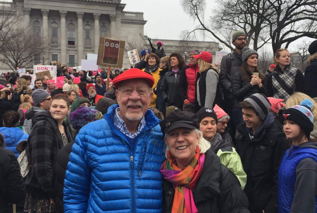 """""""My wife Nancy and I were happy to participate in the Madison women's march on Saturday. It was uplifting to march alongside so many people who are committed to protecting the rights of people who are being threatened by this administration. We must continue to stand strong and stand together as we move forward fighting against discrimination."""" From Sen. Fred Risser, Jan. 2017 official Facebook page."""