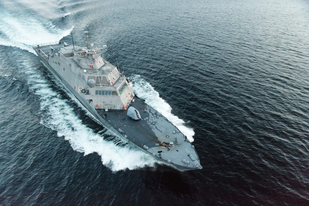 The USS Little Rock was built by Marinette Marine. Photo By Lockheed Martin. Photo is in the Public Domain.