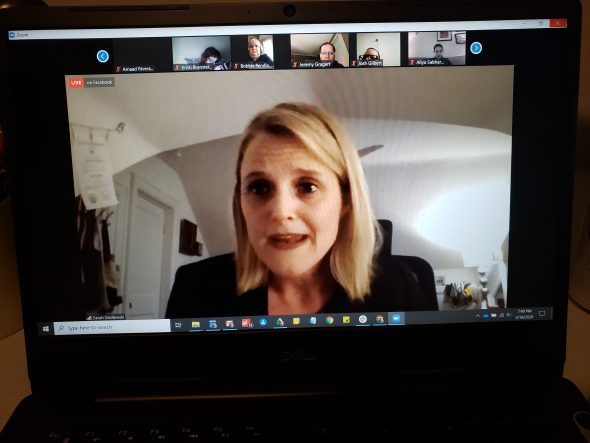Wisconsin State Treasurer Sarah Godlewski speaks as part of a virtual town hall meeting Wednesday night conducted to discuss the experience of workers who lost their jobs when Shopko went out of business in 2019. Photo by Erik Gunn/Wisconsin Examiner.