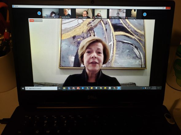 Sen. Tammy Baldwin (D-Wis.) speaks as part of a virtual town hall meeting Wednesday night conducted to discuss the experience of workers who lost their jobs when Shopko went out of business in 2019. Photo by Erik Gunn/Wisconsin Examiner.
