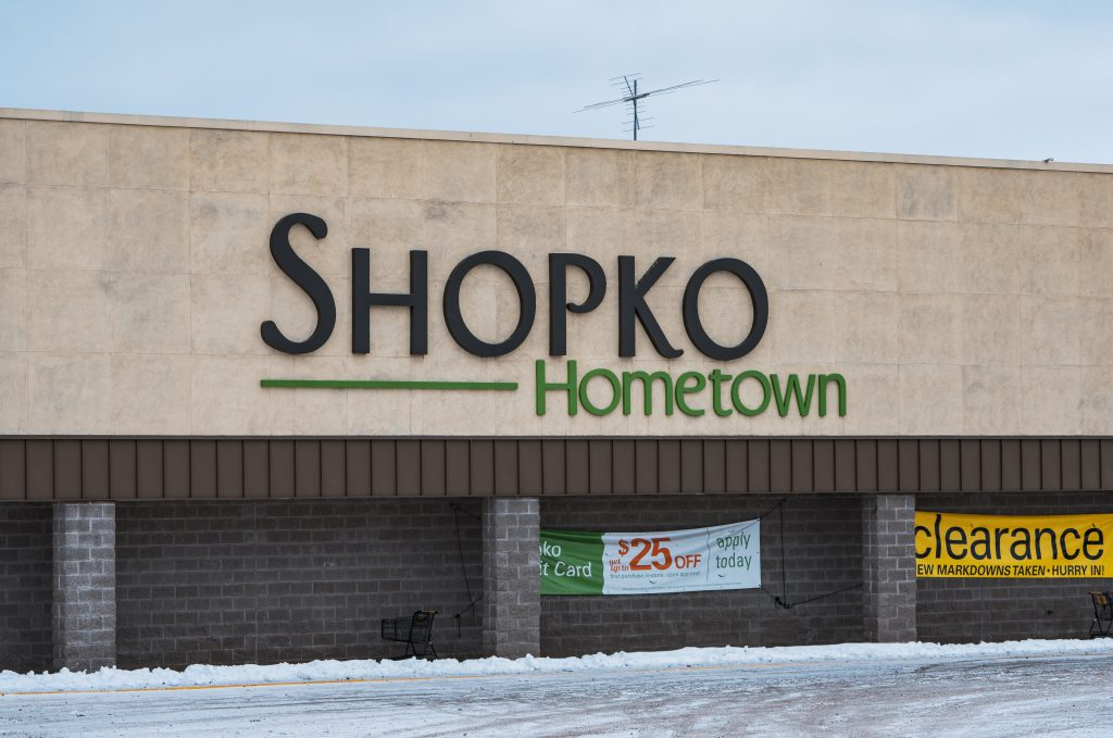 The Shopko Hometown retail grocery store in Two Harbors, Minnesota, with a clearance sign posted in Jan. 2019. By Tony Webster, Generic (CC BY 2.0)