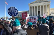 People rally outside the U.S. Supreme Court as it hears oral arguments in June Medical Services v. Russo on 3/4/20. Photo by Robin Bravender/Wisconsin Examiner.
