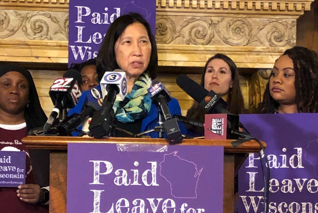 Irene Strohbeen, entrepreneur in residence at Lawrence University speaks during a push at the Wisconsin Capitol for paid leave bills in Oct. 2019. Photo Melanie Conklin/Wisconsin Examiner.