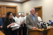 Mayor Tom Barrett addresses the media alongside Health Commissioner Jeanette Kowalik. Photo by Jeramey Jannene.