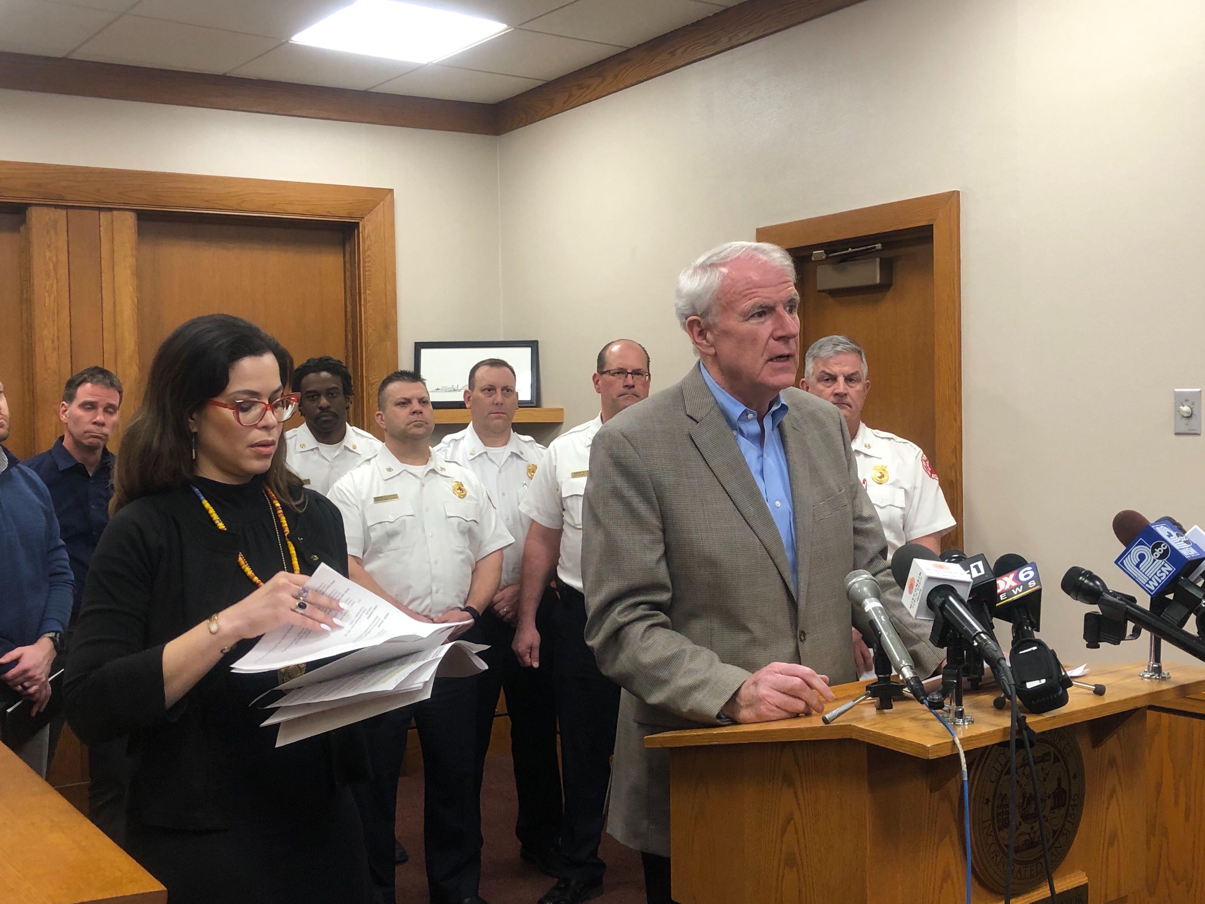 Mayor Tom Barrett addresses the media alongside Health Commissioner Jeanette Kowalik. Photo by Jeramey Jannene.