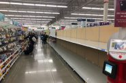 Empty shelves at Meijer in Oak Creek. Photo by Jeramey Jannene.