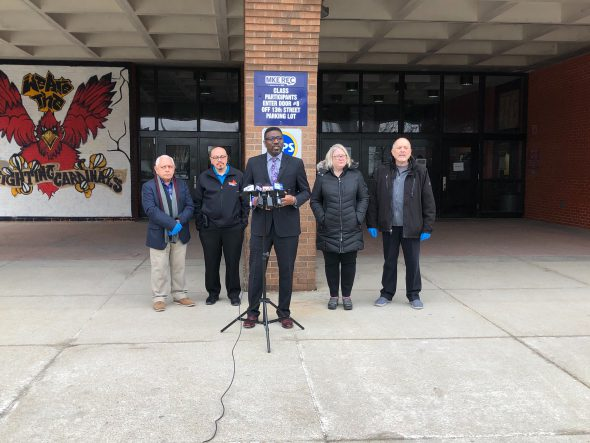 MPS Superintendent Keith P. Posley speaks in front of South Division High School. Photo by Jeramey Jannene.