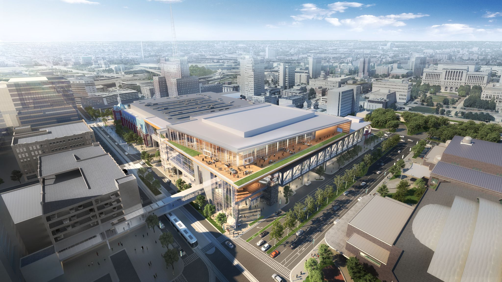 Wisconsin Center expansion rendering. Rendering by Eppstein Uhen Architects and tvsdesign.