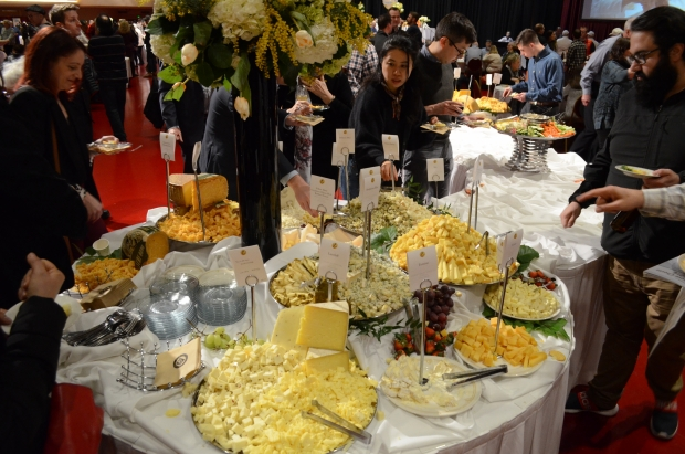 A table full of cheese at the 2020 World Championship Cheese Contest in Madison on Mar. 5, 2020. Photo by Miranda Suarez/WPR.