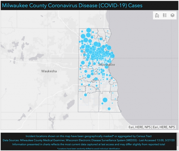 Milwaukee County COVID-19 cases. Map courtesy of Milwaukee County