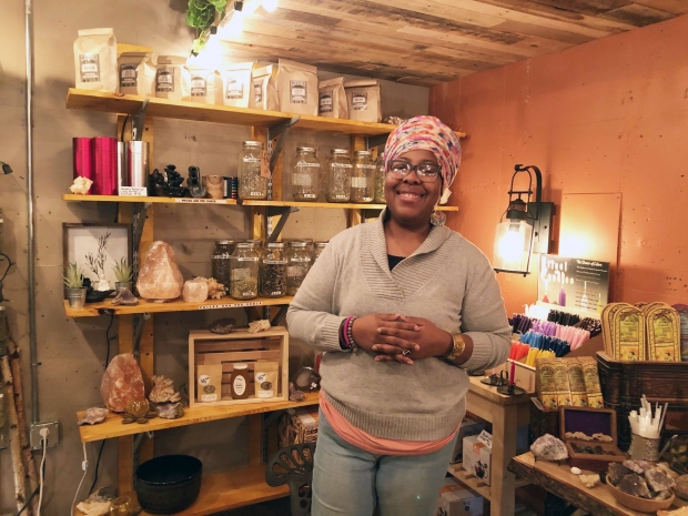 Angela Mallett opened her store, HoneyBee Sage Wellness, at Sherman Phoenix in November 2018 in Milwaukee. At a Jan. 14, 2020 visit to her store, she said she loves the sense of community at the business incubator. Photo by Corrinne Hess/WPR.