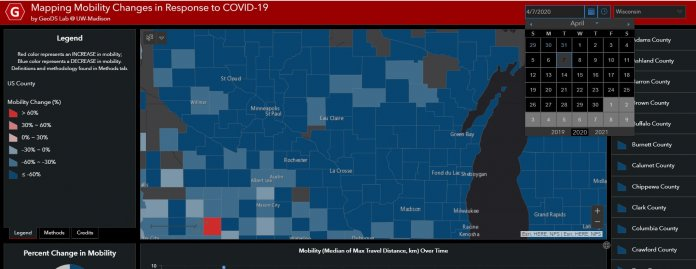 This map shows changes in mobility county by county in Wisconsin on April 7, the most recent date available as of April 10. The red and pink areas indicate greater movement on that date compared with the baseline in late February. Screenshot from Mapping Mobility Changes in Response to COVID-19 by GeoDS Lab @ UW-Madison.