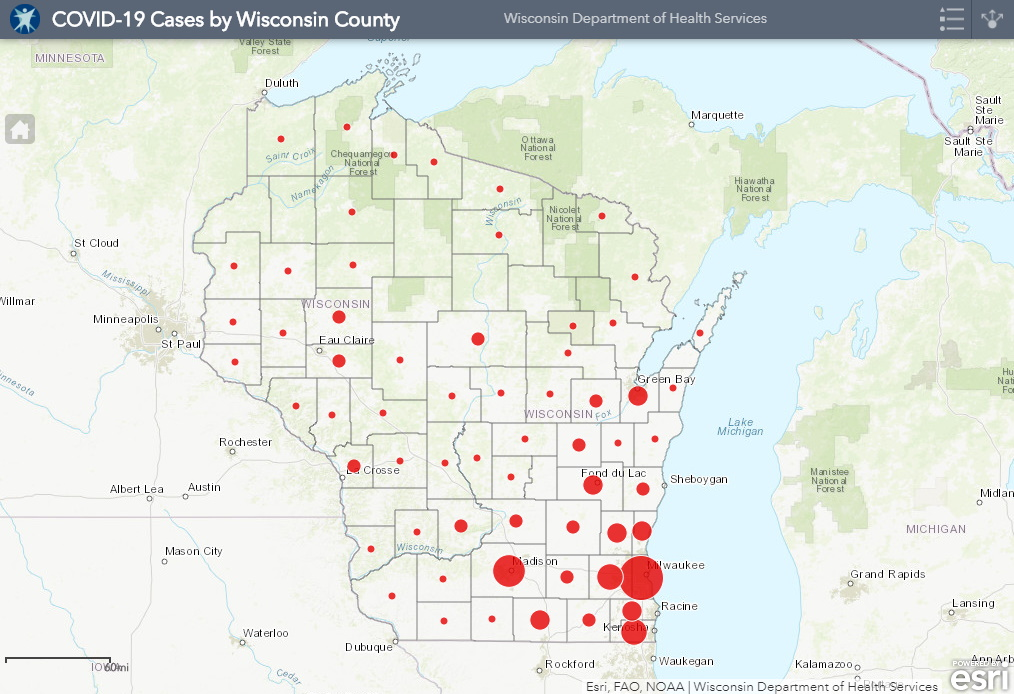 April 10th Department of Health Services COVID-19 Case Map in Wisconsin. Image from DHS.
