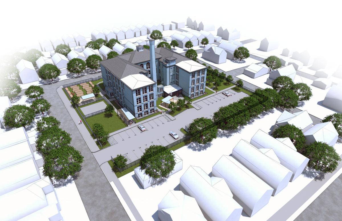 37th Street School redevelopment. Rendering by Landon Bone Baker Architects.