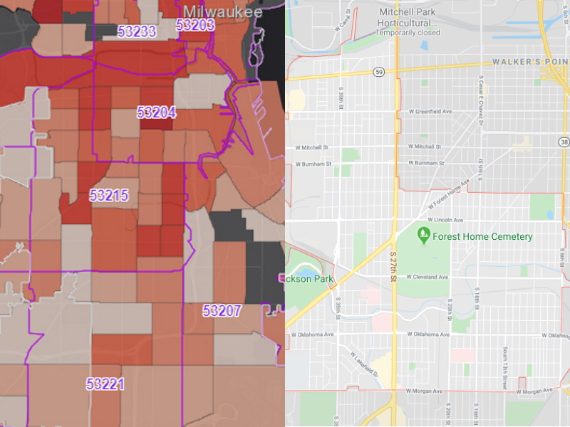 53215 ZIP Code. Case rate per census tract (left, Milwaukee County). 53215 map (right, Google Maps)
