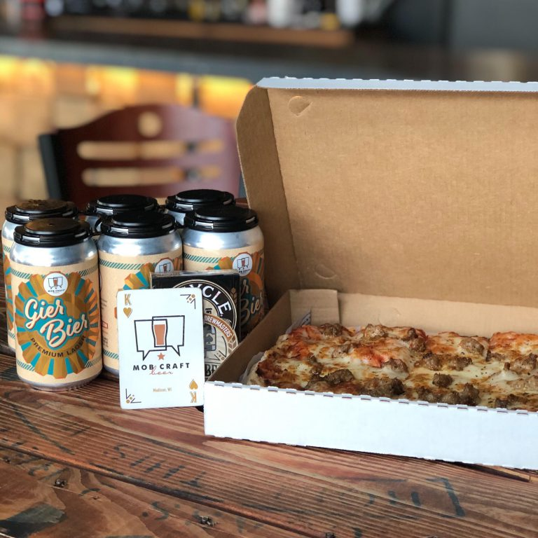 Beer, pizza, cards. Photo courtesy of MobCraft Beer.