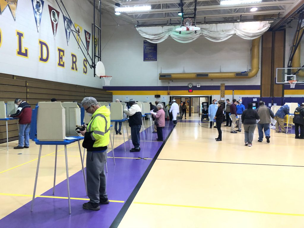Voters at Washington High School in Milwaukee during the April 7th, 2020 election. Photo by Jeramey Jannene.