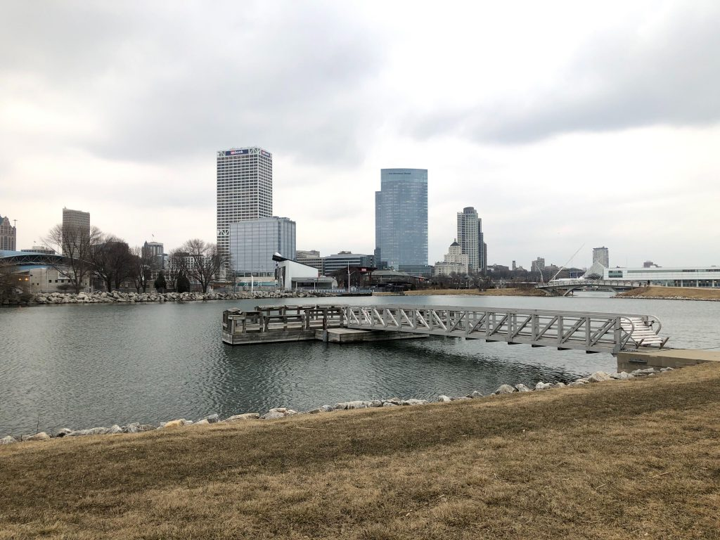 Lakeshore State Park and the Milwaukee skyline. Photo by Jeramey Jannene.