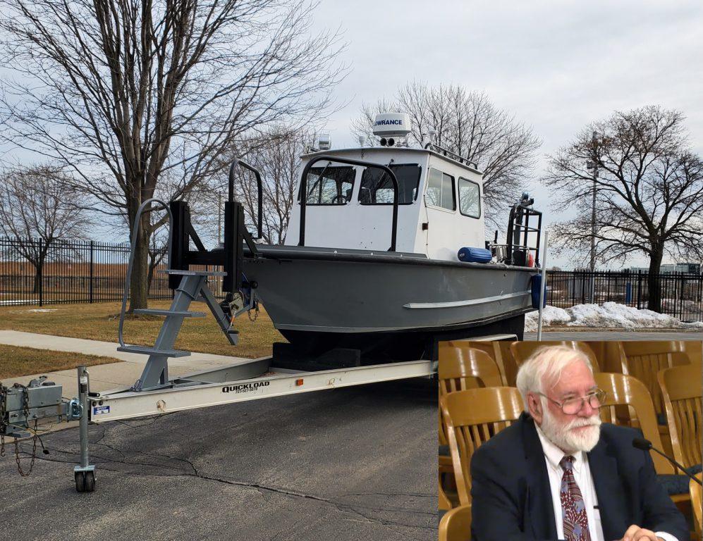 "The ""Larry Sullivan"" vessel and Larry Sullivan. Boat photo from Port Milwaukee. Sullivan photo from City Channel."