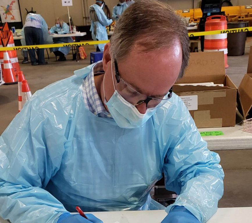 Robin Vos decked out in Personal Protective Equipment.