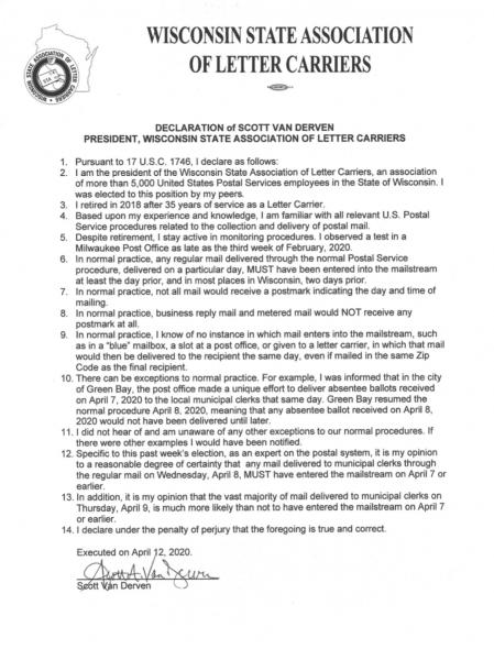 Scott Van Derven's declaration on U.S. Postal Service procedures as they relate to Wisconsin's April 7, 2020, election.