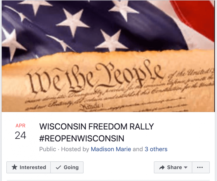 The Facebook event for the Wisconsin Freedom Rally has drawn thousands of interested people.