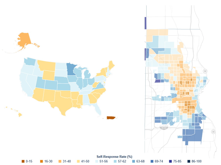 Census response rate. Maps from the US Census Bureau.