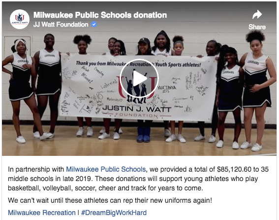 JJ Watt Foundation Donates New Uniforms and Equipment to 35 Milwaukee Recreation Youth Sports Teams