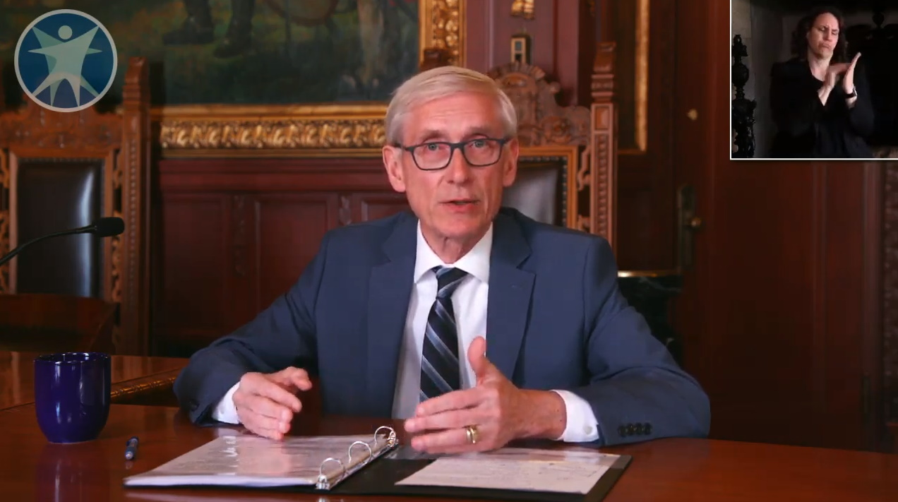 Governor Tony Evers addresses the media on April 16th. Image from the Department of Health Services.