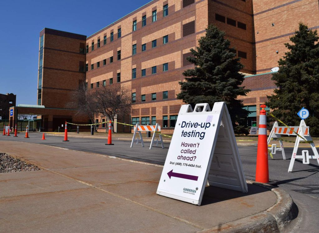 Gundersen is one of the health systems in Wisconsin that has implemented a COVID-19 testing protocol, including via drive-up testing at its clinic in Onalaska, as seen on March 17, 2020. Photo by Hope Kirwan/WPR
