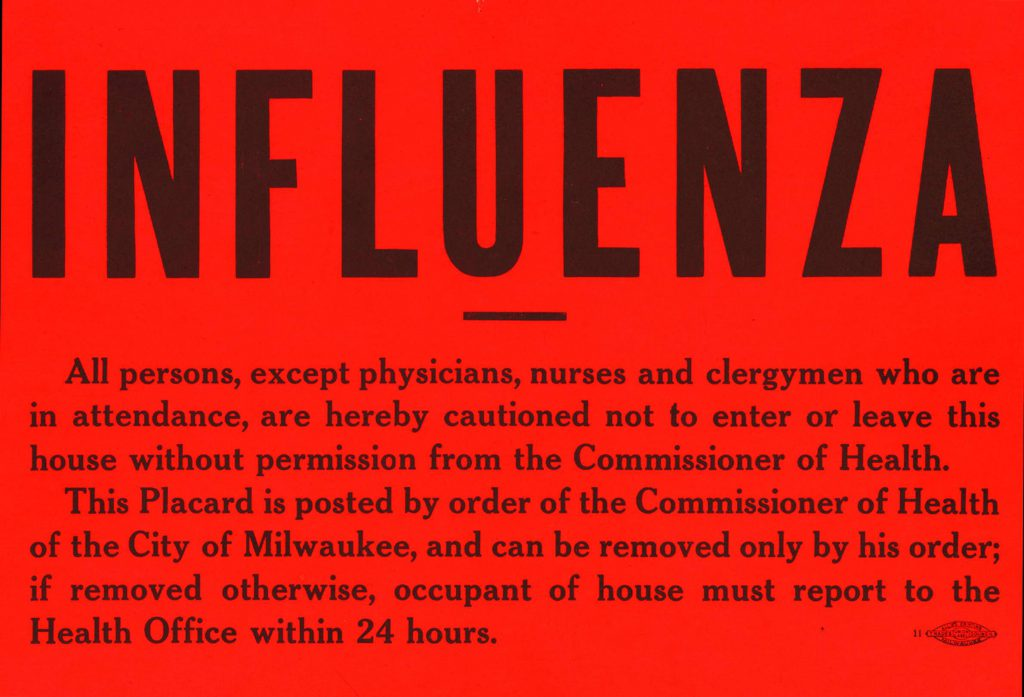 A placard issued by Milwaukee authorities to be posted in windows or tacked alongside doorways warns of contagion. These were used for other diseases as well. Image from the Milwaukee Health Department.