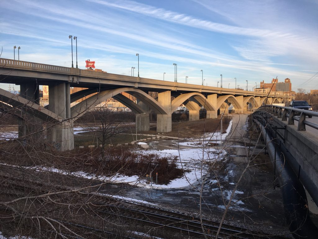 The present Wisconsin Avenue viaduct was built in 1993 to replace the original bridge. The modern bridge incorporates arches designed to recall the appearance of the earlier structure. Carl Swanson photo