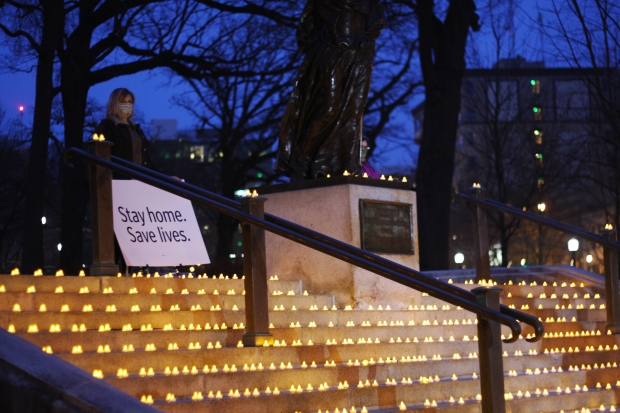 SEIU Healthcare Wisconsin organized the placement of 1,300 candles on the Capitol steps Thursday, April 23, 2020, in recognition of every person in Wisconsin who has been hospitalized with COVID-19. Jenny Peek/WPR.