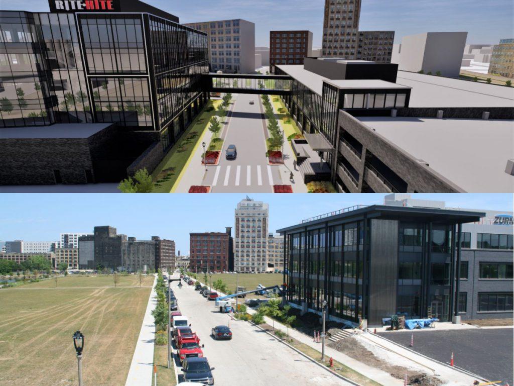 Rite-Hite plan (above, Eppstein Uhen Architects). Reed Street Yards today (below, Jeramey Jannene).