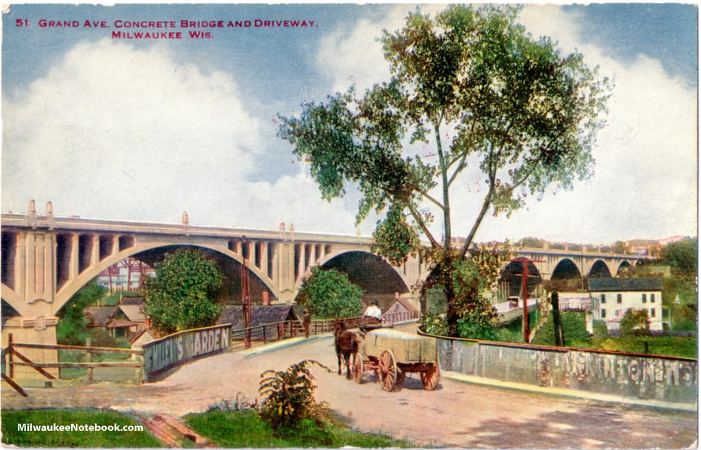 Horse-drawn carts like the one shown in this postcard view were common sights when the Grand Avenue viaduct was built in the early 1900s. Carl Swanson collection.